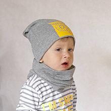 Detské čiapky - Čiapka s nákrčníkom šedá (potlač Sova žltá) - 6784893_