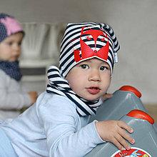Detské čiapky - Čiapka s nákrčníkom modrá pruhovaná (potlač Líštička) - 6784919_
