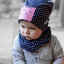 Detské čiapky - Čiapka s nákrčníkom modrá bodkovaná(potlač Mačička) - 6784926_