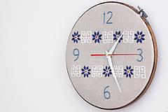 Hodiny - Slovak Folk, ručne vyšívané nástenné hodiny - 6787168_