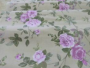 Textil - Ruže fialovo-zelené na béžovom podklade š.140cm - 6785015_