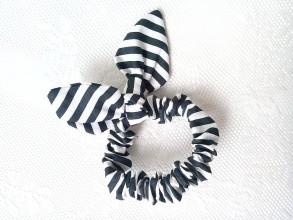 Ozdoby do vlasov - Mini scrunchie (black&white stripes) - 6789855_