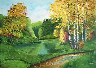 Obrazy - Jazierko v lese - 6789565_