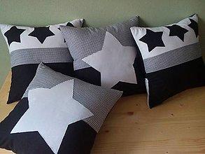 Úžitkový textil - vankúšiky s hviezdičkami - 6789472_
