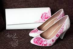 Obuv - Svadobný ružový set lodičiek a kabelky - 6788798_