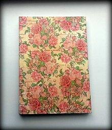 Papiernictvo - Decoupage Zápiník/denník/notes/diár vintage ružičky A5 - 6788545_