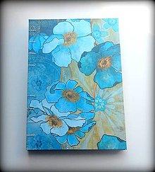 Papiernictvo - Decoupage šitý Zápisník/denník/notes/diár  Modré kvety A5 - 6788817_