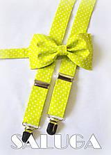 - Zelený bodkovaný set - motýlik + traky - RETRO - 6789504_