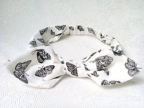 Ozdoby do vlasov - Pin Up headband on elastic (white/black butterflies) - 6791895_