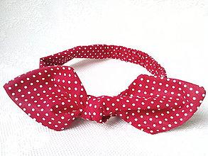 Ozdoby do vlasov - Pin Up headband on elastic (dark red/mini white polka dots) - 6791963_