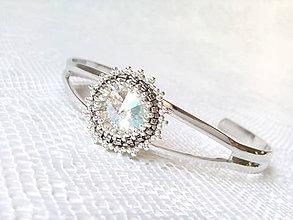 Náramky - Frozen star bracelet (Swarovski crystal / Rhodium) - 6792652_