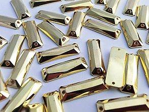 Galantéria - Našívacie kamienky 7x21 mm - zlaté odtieň I - 6790363_