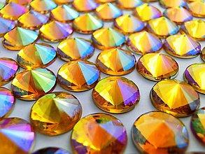 Galantéria - Ozdobné kamienky 10 mm - AB žltá - 6790393_