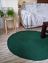Úžitkový textil - Okrúhly háčkovaný koberec - tmavozelený - 6792179_