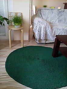 Úžitkový textil - Okrúhly háčkovaný koberec - tmavozelený - 6792176_