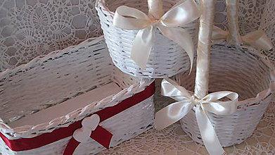 Košíky - Svadobná súprava - Bordo-béžová - 6794965_