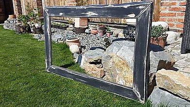 Zrkadlá - Zrkadlový rám v čiernej patine - 6794042_