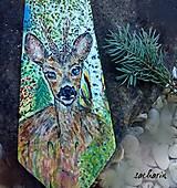 Doplnky - Lesný pôžitok- hodvábna kravata so srncom - 6794697_