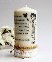 Svietidlá a sviečky - Dekoračná sviečka - pre najlepšiu priateľku - 6795529_