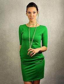 Šaty - Jednoduché šaty s vreckami - Zelené - 6793569_