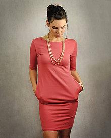 Šaty - Jednoduché šaty s vreckami - Oldpink - 6796821_