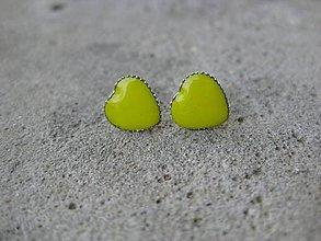 Náušnice - Mini srdiečka 9mm (Žlté  č.486) - 6793422_