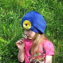 Detské čiapky - ZĽAVA z 14e - Háčkovaná baretka so žltým kvetom - 100% bavlna - 6793671_