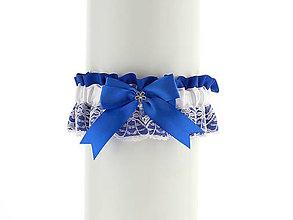 Bielizeň/Plavky - Saténový modrý podväzok pre nevestu   00853 - 6801098_