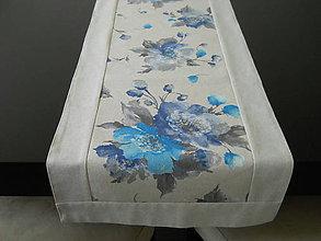 Úžitkový textil - Štóla - Modrý kvet - 6799911_
