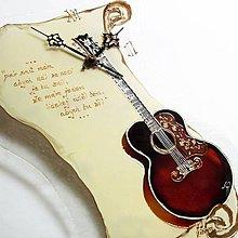 Hodiny - Ručne maľované sklenené nástenné hodiny, autorská hudobná edícia - Gitara Ornament - 6797400_