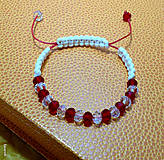Náramky - Červený Makramé náramok vodeodolný - 6799161_
