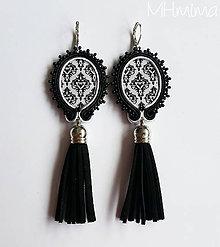 Náušnice - .naušky čierno-biela elegancia - 6799864_