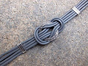 Náramky - šedý kožený náramok - 6799314_