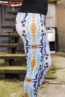 Nohavice - Farebné elastické legíny s motívom autorského obrazu: Ruže - 6799103_