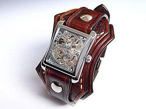 Náramky - Pánske kožené hodinky hnedé II - 6797919_