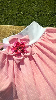 Detské oblečenie - Ružovo-bodkovaná s kvietkom - 6800434_