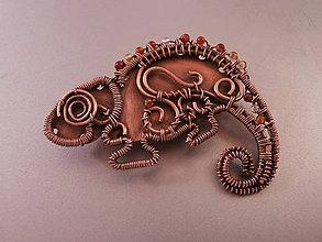 Odznaky/Brošne - Brošňa chameleón - 6803926_