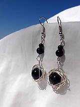 Náušnice - elegantná v čiernom...visiace náušnice - 6801655_