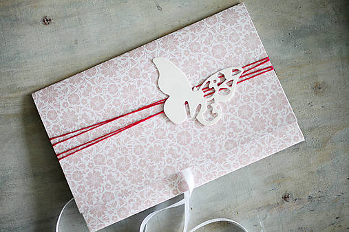 Scrapbook obálka na peniaze - motýľ
