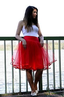 Sukne - Tylová sukně lemovaná stuhou - červená - 6804179_