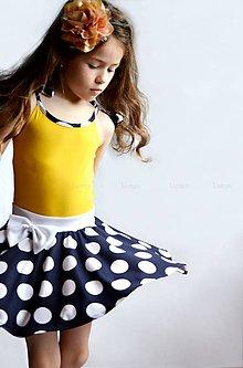 Detské oblečenie - Tmavomodrá sukňa VEĽKÉ BODKY - 6804243_