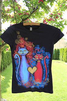 Tričká - Maľované tričko s mačkami... - 6801675_