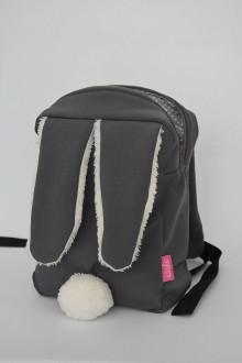 Detské tašky - Detský softshell batoh ZAJKO (sivo-biely) - 6801836_