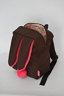 Detské tašky - Detský softshell batoh ZAJKO (hnedo-ružový) - 6801887_