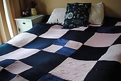 Úžitkový textil - Tmavomodroružová deka na dvojposteľ - 6805064_