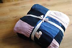 Úžitkový textil - Tmavomodroružová deka na dvojposteľ - 6805070_