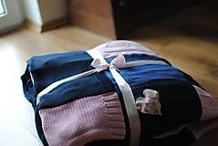 Úžitkový textil - Tmavomodroružová deka na dvojposteľ - 6805071_