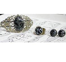 Sady šperkov - Larvikite & Snowflake Obsidian Set / Sada s larvikitom a vločkovým obsidiánom - 6807030_