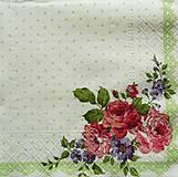Papier - S721 - Servítky - ružičky, zelené bodky - 6807298_