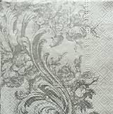 Papier - S722 - Servítky - strieborný ornament, filigrán - 6807311_
